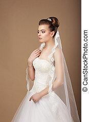 profilo, elegante, sposa, espousal., elegante, velo