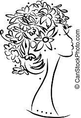 profilo femmina, con, floreale, acconciatura, per, tuo, disegno