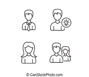 profilo, femmina, coppia, maschio, icons.