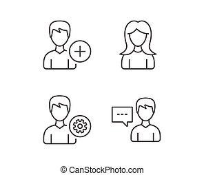 profilo, femmina, maschio, icons., servizio