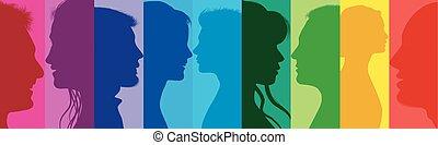 profilo, folla., concetto, diversità, persone, comunicazione, persone., media., networking., community., colori, collegato, comunicazione., sociale, arcobaleno, gruppo, silhouette