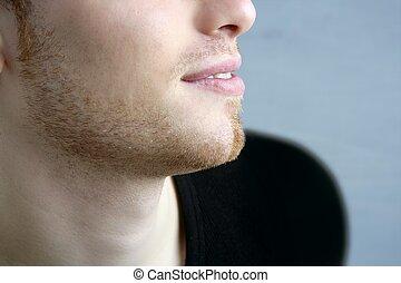 profilo, giovane, affronti ritratto, uomo, bello