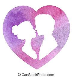 profilo, illustra, acquarello, silhouette, vettore, donna, uomo