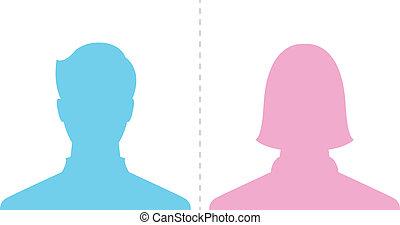 profilo, immagine, maschio, femmina