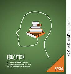 profilo, lightbulb, concetto, moderno, education., infographic, libri, sagoma, testa