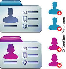 profilo, media, maschio, femmina, sociale