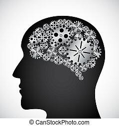 profilo, mente, ingranaggi