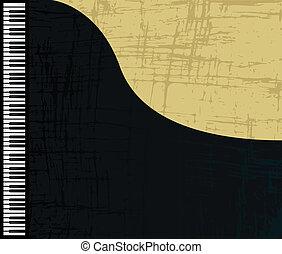 profilo, pianoforte, grunge