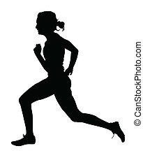 profilo, pista, corridore, femmina, accelerare, lato