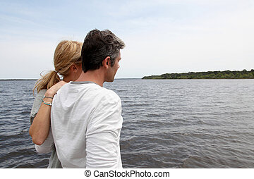 profilo, ponte, seduta, legno, coppia, lago, vista