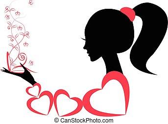 profilo, ragazza, vettore, o, woman.