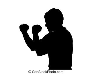 profilo, ragazzo, adolescente, silhouette, posizione, pugilato, ritratto, aggressivo, lato