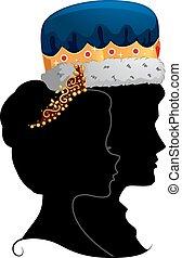 profilo, re, coppia, regina, silhouette