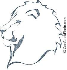 profilo, re, schizzo, forza, silhouette, illustration., bianco, tutto, isolato, fondo., pride., vettore, nero, animali, grunge, leone, testa, style., casato