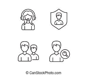 profilo, ricerca, sostegno, gruppo, icons., femmina