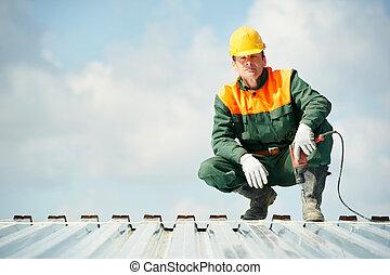 profilo, roofer, lavoratore, costruttore, lavoro, metallo