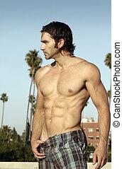 profilo, shirtless, uomo