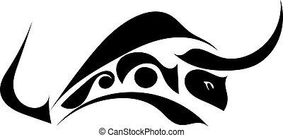 profilo, silhouette, isolato, whi, singolo, nero, toro