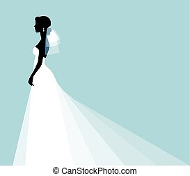 profilo, silhouette, sposa, giovane, elegante, ritratto sposa, vestire