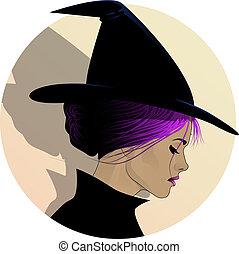 profilo, strega, carino