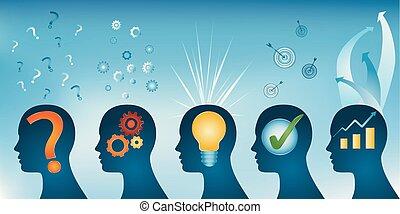 profilo, testa, concetto, success., serie, concept., -, idea, analisi, soluzione, umano, approvazione, problema, strategia