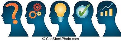 profilo, testa, concetto, success., serie, concept., -, isolato, analisi, idea, umano, approvazione, problema, strategia, soluzione, ispirazione