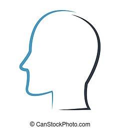 profilo, testa, contorno, icona