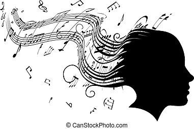 profilo, testa, donna, capelli, concetto, musica