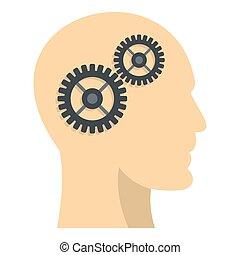 profilo, testa, icona, dentro, ingranaggi
