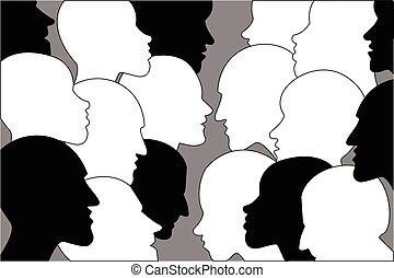 profilo, testa, silhouettes., nero, umano, dialogue., bianco