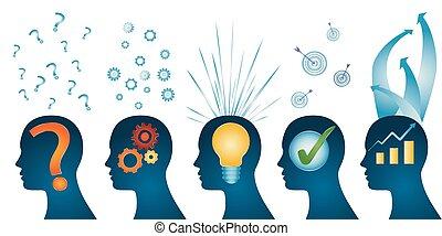 profilo, testa, success., serie, concept., -, isolato, analisi, idea, umano, approvazione, problema, strategia, soluzione, ispirazione