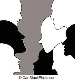 profilo, teste, discussion., persone, heads., vector.