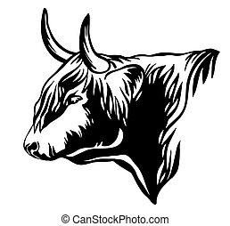 profilo, vettore, toro, astratto, ritratto