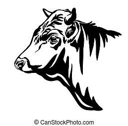 profilo, vettore, toro, ritratto, contorno