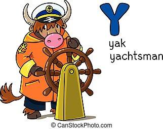 profissão, alfabeto, yachtsman., y, animais, abc., yak