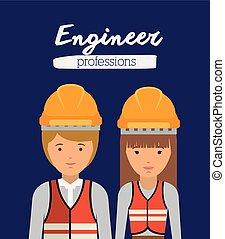 profissão, desenho, engenheiro