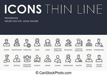 profissões, ícones, linha, magra