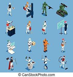 profissões, jogo, isometric, robô