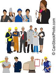 profissões, trabalhadores, ilustração
