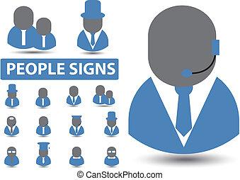 profissões, vetorial, sinais