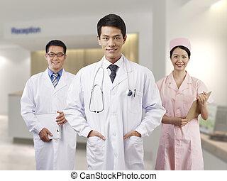 profissionais, médico, asiático