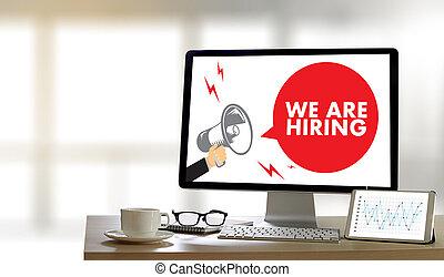 profissionais, nós, trabalhando, recrutamento, empregar, trabalho, human, entrevista, multa, recursos