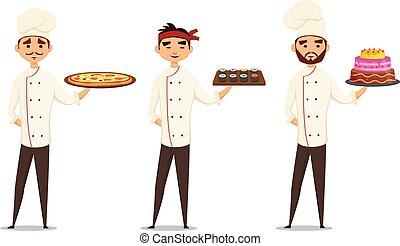 profissionais, personagem, cozinheiros, multicultural, sorrindo, set.