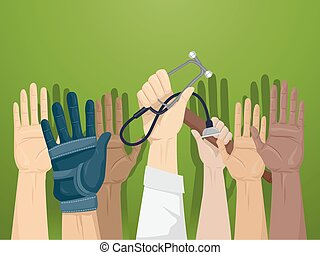 profissionais, voluntários, cima, mãos