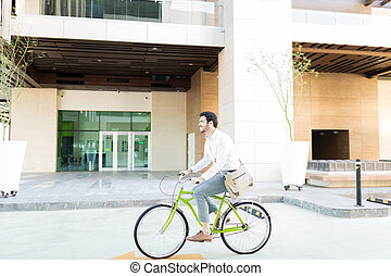 profissional, ajudando, poupar, a, meio ambiente, por, ciclismo