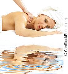profissional, areia branca, massagem