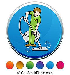 profissional, botão, jogo, tapete, limpador