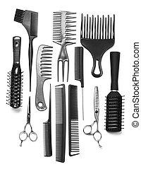 profissional, cabeleireiras, ferramentas