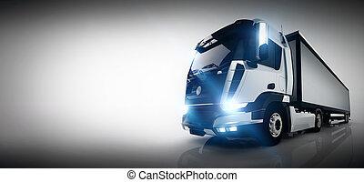 profissional, carga, caminhão entrega, com, longo, trailer.,...