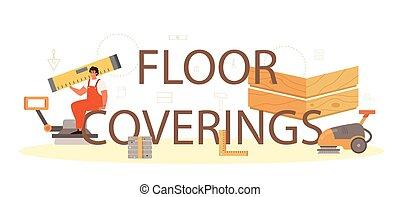 profissional, coberturas, deitando, tipográfico, header., chão, parquet